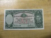 Collectible 1942 Australia One Pound - King George Vi Banknote - Nice Condition