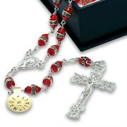 Rosary Red Crystal Rondelle Beads Sterling Silver Filigree Crucifix