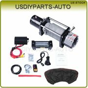 12v 10000lb Electric Steel Cable Rope Winch Truck Boat Off Road Atv Utv W/cover