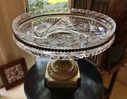 American Brilliant Cut Glass 13 Centerpiece Bowl On Gilt Stand 1900- Pairpoint
