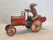 Vintage 1920s Marx Tin Windup Whoopie Cowboy Car, Works Well Great Color. Wow
