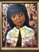 🔥 Antique Mid Century Modern Mexican Muralismo Oil Painting Portrait Of Girl