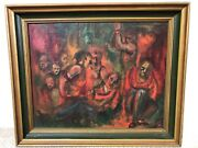 🔥 Antique Mid Century Modern Muralismo Abstract Oil Painting - Mystery Signed