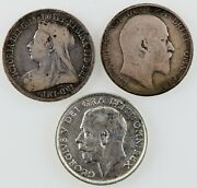 Great Britain1896, 1906 And 1915 Silver Shilling . Lot Of 3 Coins.