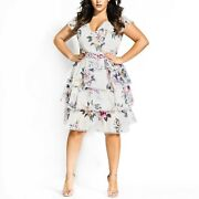 City Chic Xxl/24 Womenand039s V-neck Fit And Flare Floral Printed Dress Plus Size 24w