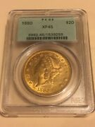 1880 Xf45 Pcgs Liberty Double Eagle 20 Gold Coin Ogh Very Nice Rare P-mint