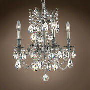 Joshua Marshal 701578-065 Versailles 4 Light 17 Pewter Chandelier With Clear
