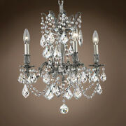 Joshua Marshal 701578-053 Versailles 4 Light 17 Pewter Chandelier With Clear