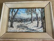 Small Leah Hartzell Winter Landscape Scene Oil Painting - Signed And Framed