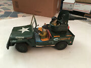 Vintage 1960s Battery Operated Cragstan Japan Tin Toy Army Combat Jeep