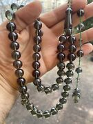 Special Collectible Green Fire Amber Kehribar Misbaha Islamic Beads 45 Peaces