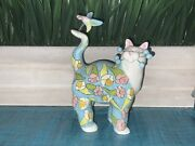 Whimsiclay Amy Lacombe Whimsiclay Cat Bird Figurine 86140, 2004 Willitts Designs
