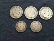 Barber Silver Half And Quarters Lot 1893 1894 1909 1911 1914 Take A Look