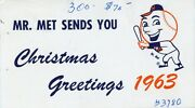 1963 Ny Mets Christmas Card Awesome-rare Item From George Weissand039 Estate Auction