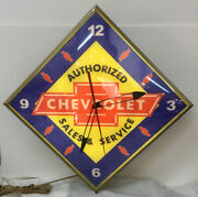 Vintage Authorized Chevrolet Sales And Serviceandrdquo Advertising Clock By Pam