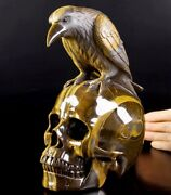 Lifesized 7.7 Gold Tiger Eye Carved Crystal Skull With Raven Sculpture 123
