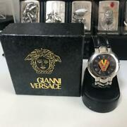 Gianni Versace Black Leather Watch World Limited 100 Vintage Limited Rare