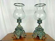 Set Of 2 Large Ornate Wrought Iron Tabletop Hurricane Vintage Candle Holders