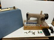 Singer 201k Electric Foot Pedal Operated Sewing Machine With Carry Case.