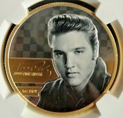 Elvis Presley 2018 Silver And Gold Medallion One Troy Ounce .9999 Fine Silver