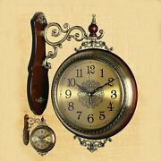 Wall Clock Both Sides Double-sided Watches Antique Revolution Iron Cafandeacute