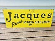 Vintage 1940's Jacques Proven Hybrid Seed Corn Sign 30 X 12