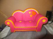 Retired Lalaloopsy Pink Couch With Orange Trim Fits 2 Full Size Dolls.