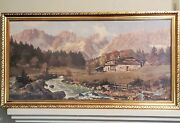 Vintage Mountain Cabin W/ Outhouse Water Framed Art Print 43x23 Inch