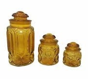 Vtg Retro Le Smith Moon And Stars 6 Piece Amber Glass 3 Canister Apothecary Set