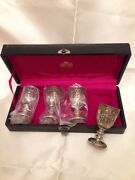Vintage Corbell And Co. Silver Plate 3.5 Tall Wine Goblets W Original Box / Japan