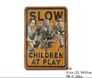 Slow Children At Play Funny Metal Hanging Tin Signs Humor Plaque Wall Decor Art