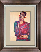Egon Schiele Limited Edition Lithograph   Self Portrait   Sign W/frame Included
