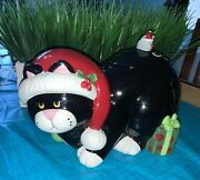 """Black And White Kitty Cat """"meowy Christmas"""" Cookie Jar Florida Marketplace 2005 😽"""