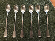 Oneida Stainless American Colonial Iced Drink Spoons - Set Of Six Cube Mark