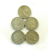 Lot Of 5 1983, 1993, 2003 Royal Arms One 1 Pound Coins Upside Down Error Stamp