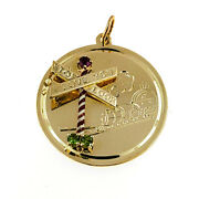 Vintage Henry Dankner 14k I Love You Railroad Stop Charm With Rubies And Peridot