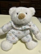 Carters Prestige Toy White Teddy Bear Balloons Rattle Plush Terry Cloth Vintage