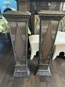Pair 2 Tall Pedestals / Plant Stands Covered Leather Over Wood Leopard Print