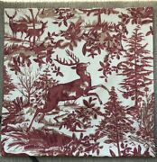 Pottery Barn Alpine Toile Plaid Reversible Pillow Cover Red Deer Stag 24