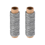 2pcs Leather Sewing Thread 33 Yards 150d/1mm Waxed Flat Cord Light Gray