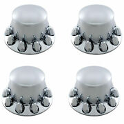 Set Of 4 Economy Chrome Dome Rear Axle Cover W/ 1 1/2 Nut Cover - Push-on