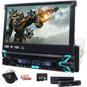 Single 1 Din In-dash Car Stereo 7 Cd Touch Screen Dvd Player Gps Sat Aux Radio