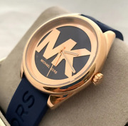 Women's Janelle Three-hand Navy Silicone Watch Mk7140 Only Two Left