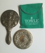 Antique Ornate Hand Mirror And Sterling Silver Round Compact Towle Signed Mirror