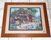 Home Interiors The Potting Shed Framed And Matted Print Signed 28 X 24