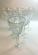 6 Waterford Golden Lismore Cut Crystal Stems Red Wine Gold Rim Mint 73/8 Tall