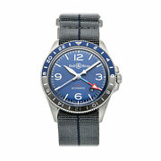 Bell And Ross Br V2-93 Gmt Steel Auto 41mm Mens Watch Brv293-blu-st/sf