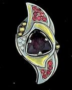Wilhelm Antique Yellow And White Gold Pendant 9ct Garnet With Rubies Diamonds