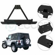 Texture Rear Bumper W/ Tire Carrier For Jeep Wrangler 87-96 Yj / 97-06 Tj Guard