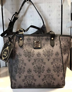 New Disney Dooney And Bourke Haunted Mansion Wallpaper Grey Janie Tote Bag Purse
